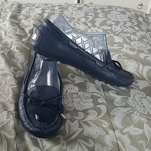 Navy blue leather moccasin loafers